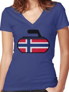 Norwegian Curling Women's Fitted V-Neck T-Shirt