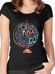 Oh The Places You'll Go - Typography Vintage Globe in Pink Blue Grey Women's Fitted Scoop T-Shirt