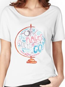 Oh The Places You'll Go - Typography Vintage Globe in Pink Blue Grey Women's Relaxed Fit T-Shirt