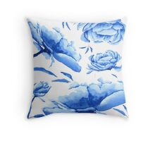 blue peony pattern  Throw Pillow