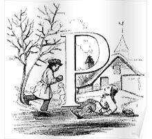 Child Alphabet Letter P Poster