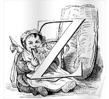Child Alphabet Letter Z Poster