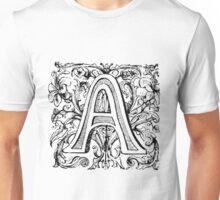 Floral Alphabet Letter A Unisex T-Shirt
