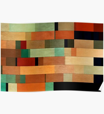 Abstraction #011 Green Red Black Blocks Poster