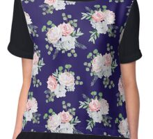 Navy pattern with bouquets of rose, peony, anemone, brunia flowers and eucalyptus leaves Chiffon Top