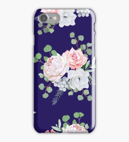 Navy pattern with bouquets of rose, peony, anemone, brunia flowers and eucalyptus leaves iPhone Case/Skin