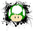 Abstract Paint Splatter 1up Mushroom by scribbleworx