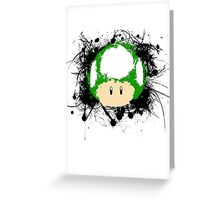 Abstract Paint Splatter 1up Mushroom Greeting Card