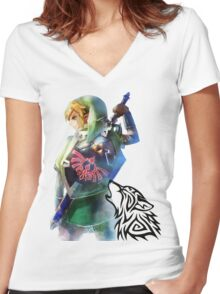Zelda Link with Wolf Women's Fitted V-Neck T-Shirt