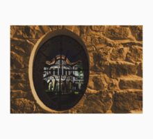 Illuminated Night View - Magnificent Revival House Through a Fence Window One Piece - Short Sleeve