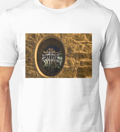 Illuminated Night View - Magnificent Revival House Through a Fence Window Unisex T-Shirt