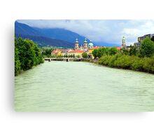 Innsbruck and Inn river, Tyrol, Austria Canvas Print