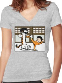 Calvin And Hobbes : Kungfu Master Women's Fitted V-Neck T-Shirt