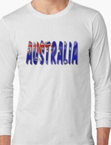 Australia Word With Flag Texture Long Sleeve T-Shirt