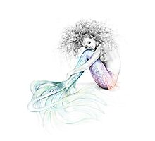 Tranquil Mermaid Colour Splash Rainbow Tail Photographic Print