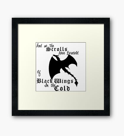 Black Wings In The Cold Framed Print