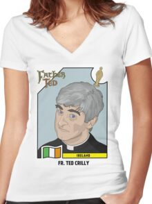 Father Ted Panini Sticker Women's Fitted V-Neck T-Shirt