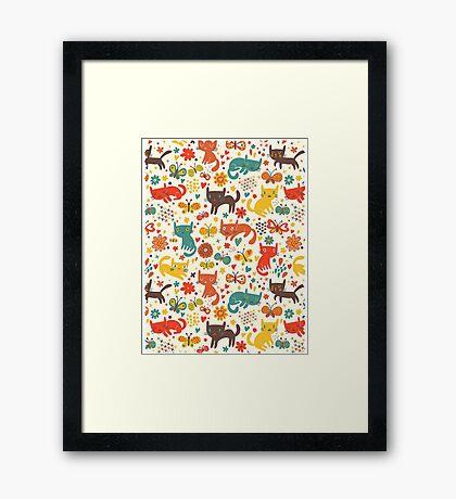 So many cats! Cute pattern! Framed Print