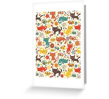 So many cats! Cute pattern! Greeting Card