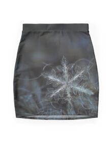 Leaves of ice, snowflake macro photo Mini Skirt