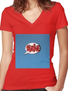 Bubble with Expression Sale in Vintage Comics Style Women's Fitted V-Neck T-Shirt