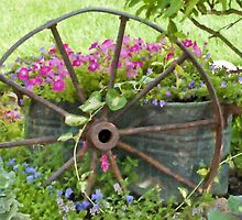 Vintage Wheel Garden Scene - Digital Oil  by Sandra Foster