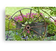 Vintage Wheel Garden Scene - Digital Oil  Canvas Print