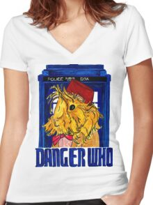 Danger Who, the Eleventh Guinea Pig Doctor Women's Fitted V-Neck T-Shirt