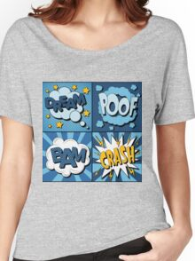 Set of Comics Bubbles in Vintage Style. Expressions Dream, Poof, Bam, Crash Women's Relaxed Fit T-Shirt