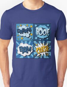 Set of Comics Bubbles in Vintage Style. Expressions Dream, Poof, Bam, Crash Unisex T-Shirt