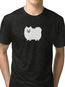 Fluffy White Pomeranian Tri-blend T-Shirt