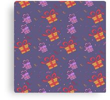 Happy Birthday Seamless Pattern with Presents for Children Party Canvas Print
