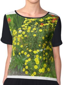 White Daisy And Friends On An Irish Country Road Chiffon Top
