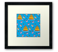 Happy Birthday Seamless Pattern with Cake for Children Party Framed Print