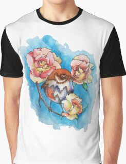 Bird and Roses Graphic T-Shirt