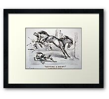Getting a hoist - a bad case of the heaves - 1875 - Currier & Ives Framed Print