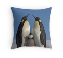 Emperor Penguins and Chick - Snow Hill Island Throw Pillow