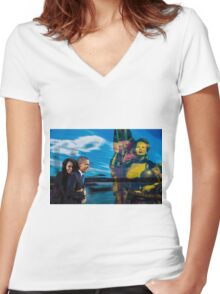 Allegory about  007  14 08   Women's Fitted V-Neck T-Shirt