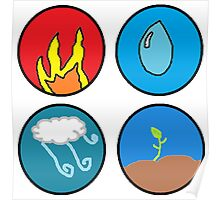 fire, water, wind, earth Poster