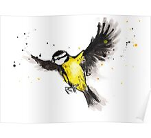 Flying titmouse Poster
