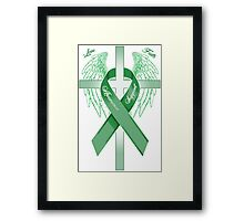 Green Awareness Ribbon on the Cross Framed Print