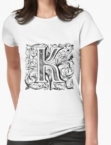 Floral Alphabet Letter K Womens Fitted T-Shirt