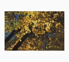 Golden Canopy - Look Up to the Trees and Enjoy Autumn - Horizontal Left Kids Tee