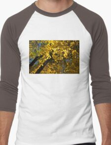 Golden Canopy - Look Up to the Trees and Enjoy Autumn - Horizontal Left Men's Baseball ¾ T-Shirt