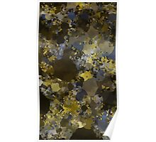 Abstraction 013 Blue Gold Blocks Poster