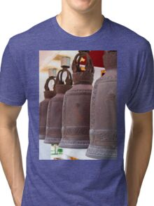 Row of hanging buddhist religious bells in Thailand temple Tri-blend T-Shirt