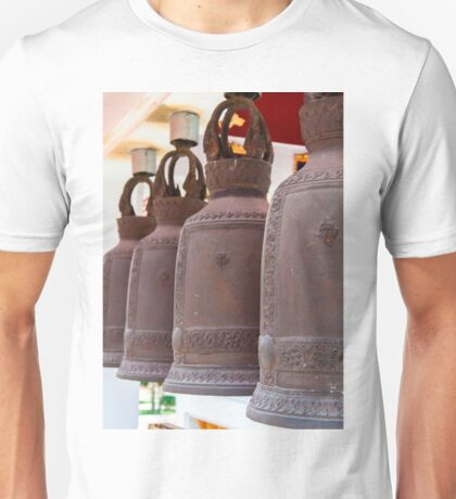 Row of hanging buddhist religious bells in Thailand temple Unisex T-Shirt