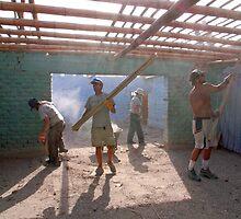 Earthquake volunteers, Paracas by Elaine Stevenson