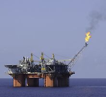 Oil Production Platform With Flare by Bradford Martin