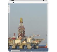 Off Shore Oil Rig with Helicopter and Boat iPad Case/Skin